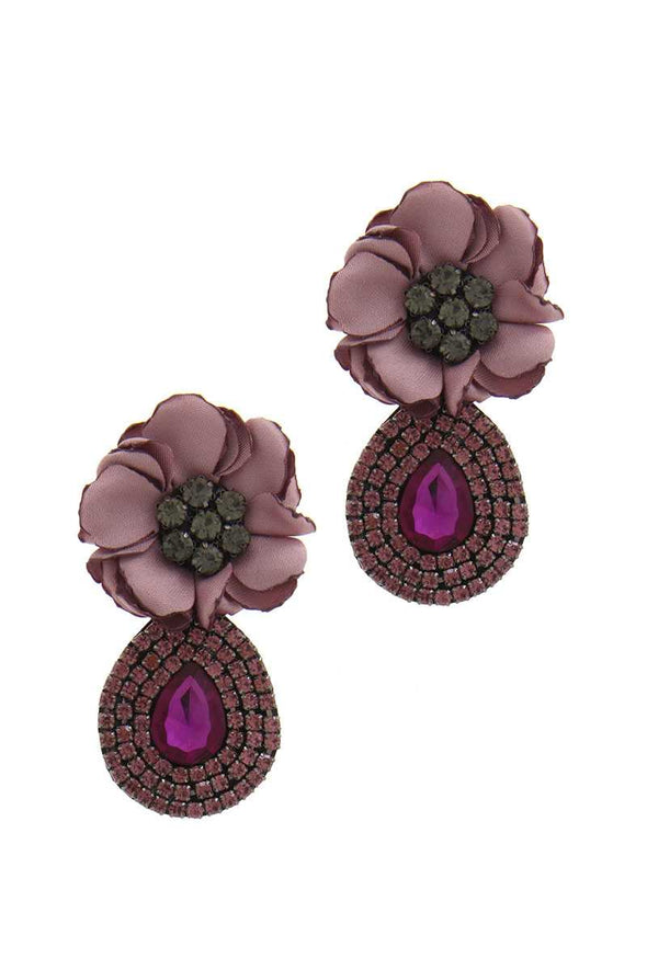 Flower Rhinestone Post Drop Earring - Babe Shoppe