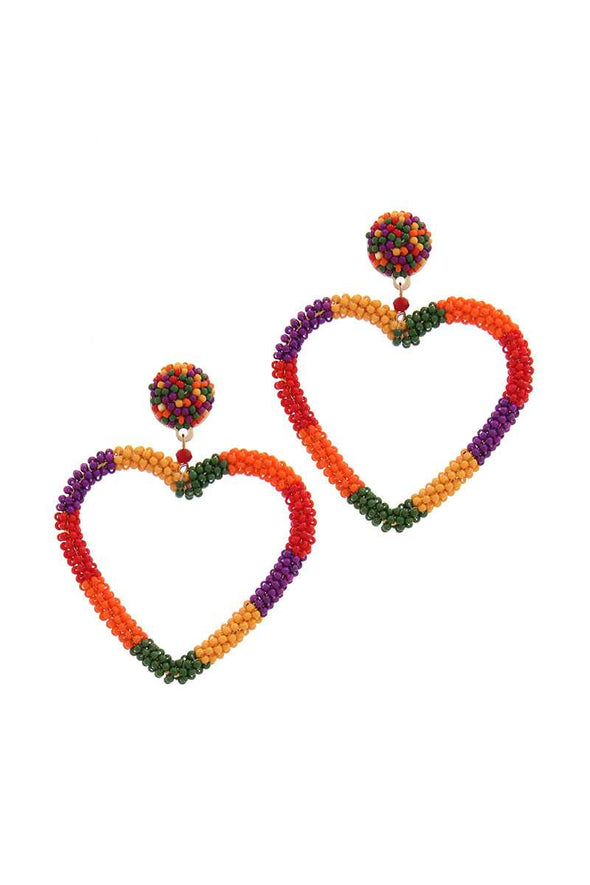 Beaded Heart Shape Post Drop Earring - Babe Shoppe