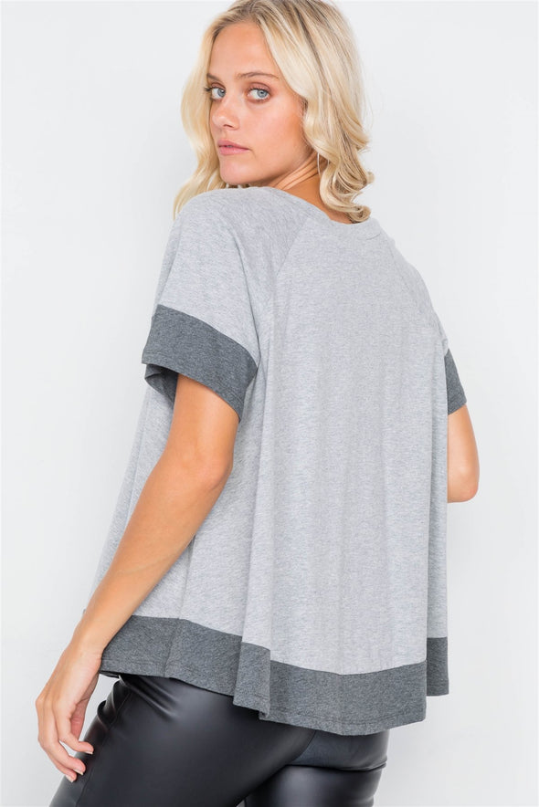 Grey Contrast Trim Flare Cotton Tee - Babe Shoppe
