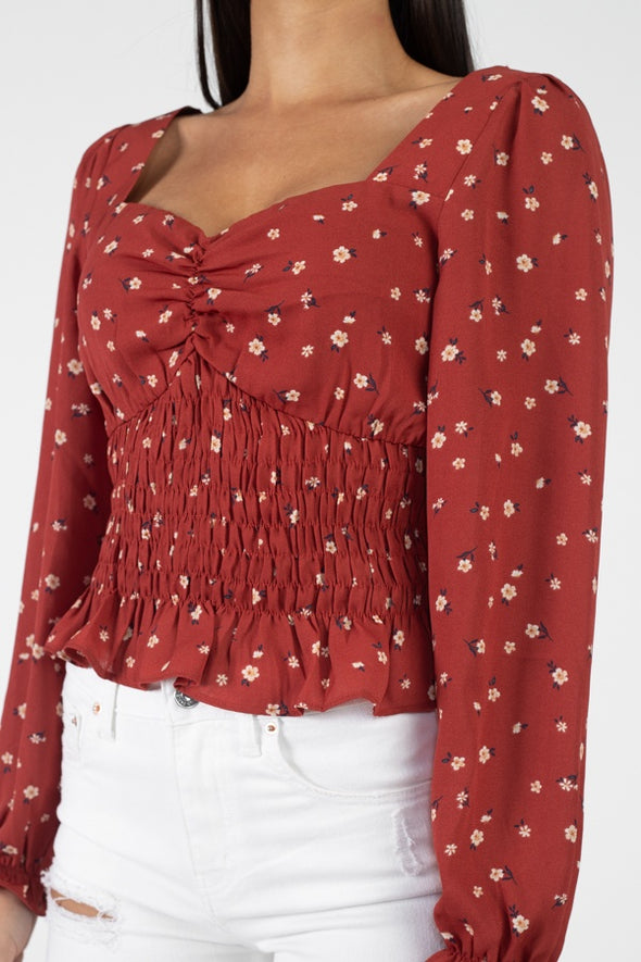 Floral Sweetheart Ruffle Top - Babe Shoppe
