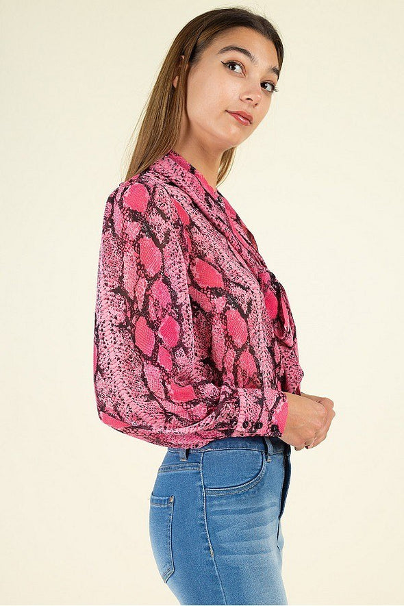 Snake Skin Tie Neck Top - Babe Shoppe