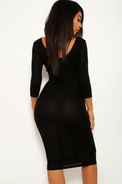 Ribbed, Long Sleeve Solid Midi Dress - Babe Shoppe