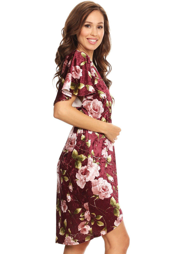 Floral Print, Velvet, Short Dress - Babe Shoppe