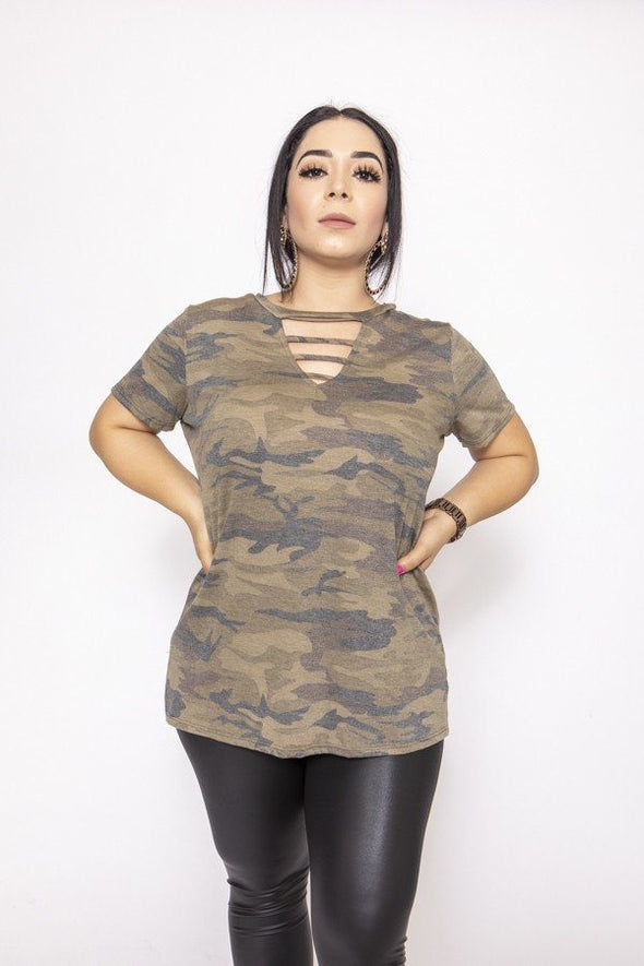 Camouflages And Solid Dress/top - Babe Shoppe