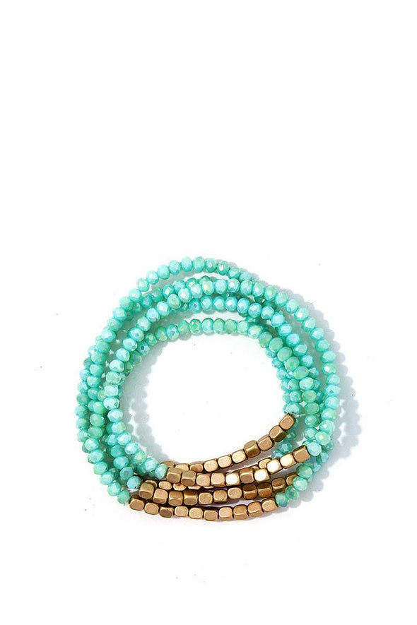 5 Multi Beaded Trendy Bracelets - Babe Shoppe
