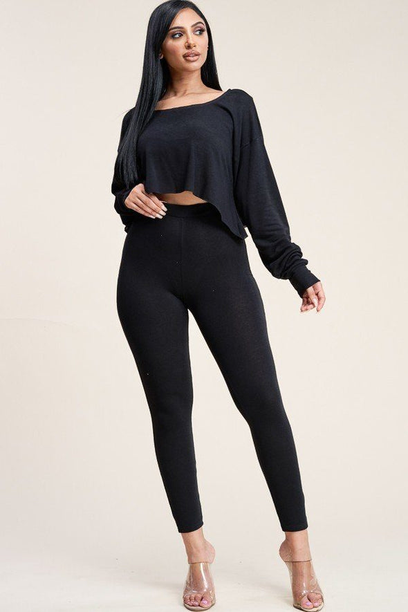 Solid French Terry Long Sleeve Slouchy Top And Leggings Two Piece Set - Babe Shoppe