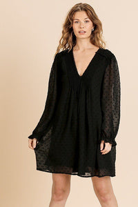 Sheer Polka Dot Fabric Long Ruffle Sleeve V-neck Dress