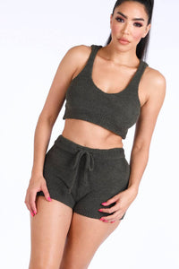 Textured Knitted Tank Top Short Set - Babe Shoppe