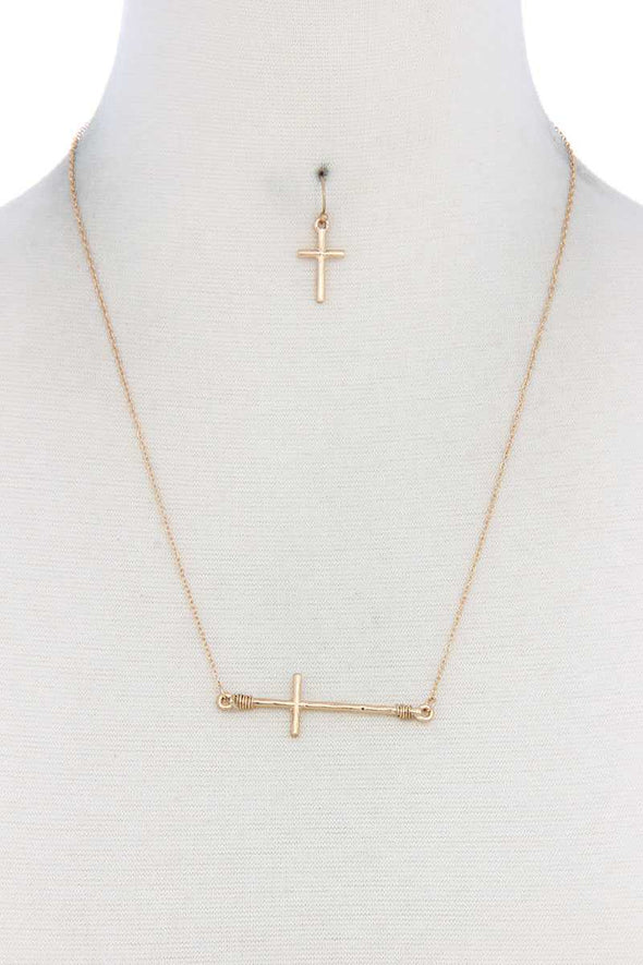 Metal Cross Charm Necklace - Babe Shoppe