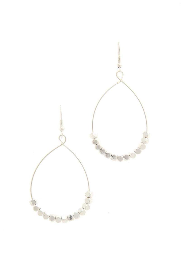 Beaded Metal Drop Earring - Babe Shoppe