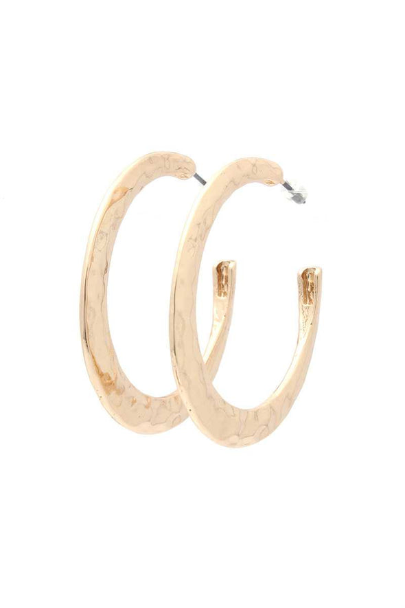 Hammered Open Circle Drop Earring - Babe Shoppe