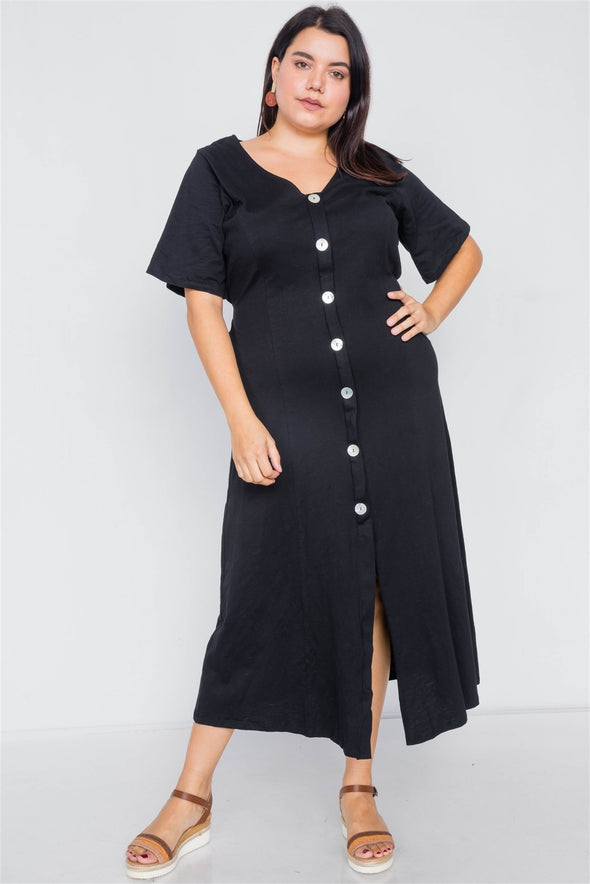 Plus Size Cotton V-neck Wrap Opal Button Down Maxi Dress - Babe Shoppe