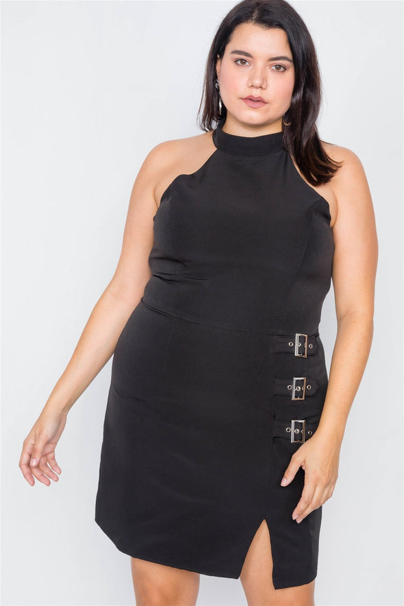 Plus Size Halter Buckle Hip Mini Dress - Babe Shoppe