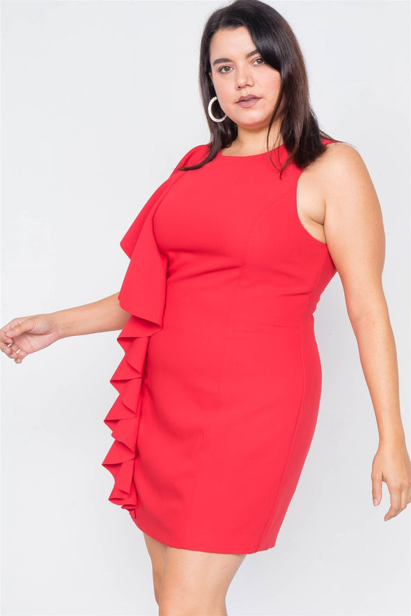 Plus Size Trim Frill Sleeve Mini Dress - Babe Shoppe