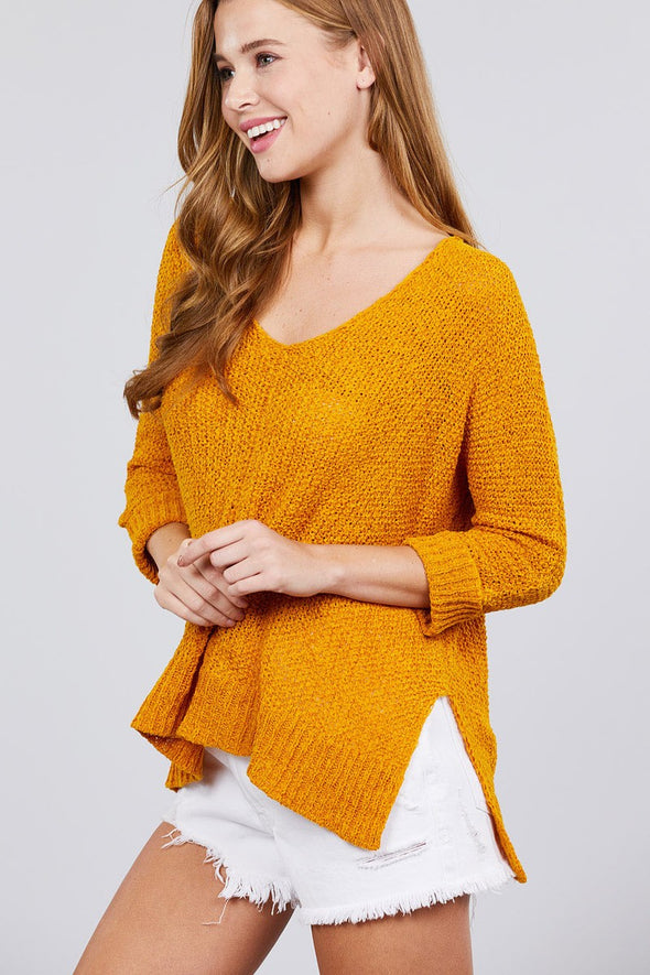3/4 Sleeve Side Slits Fish Net Sweater Top - Babe Shoppe