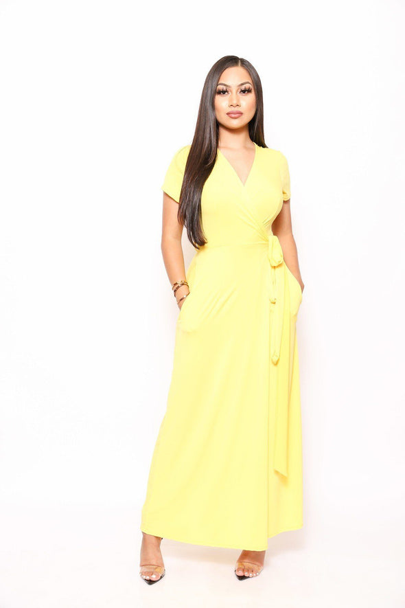 Simple, Sexy, And Chic Floor Length Wrap Dresses - Babe Shoppe