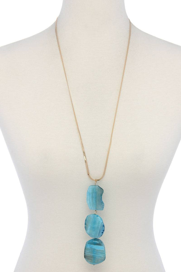 Natural Stone Flat Snake Chain Necklace - Babe Shoppe