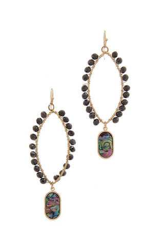 Pointed Oval Beaded Dangle Drop Earring