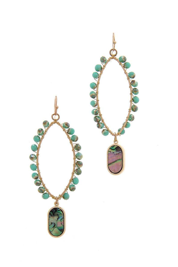 Pointed Oval Beaded Dangle Drop Earring - Babe Shoppe