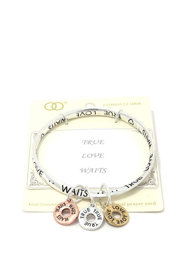 True Love Waits Quote Bangle - Babe Shoppe