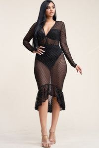 Long Sleeve Burnout Mesh Mermaid Dress With Panty Lining