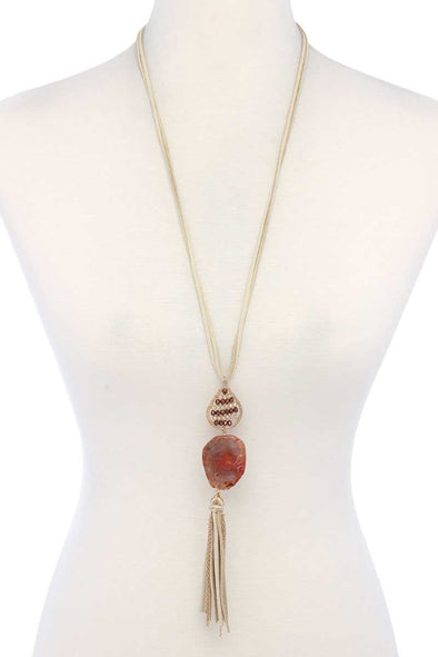 Teardrop Shape Beaded Stone Tassel Pendant Necklace - Babe Shoppe