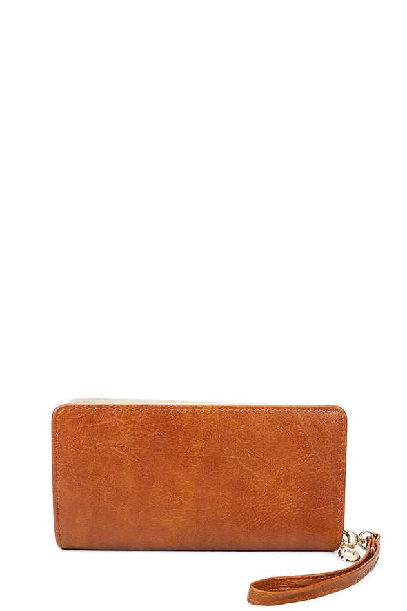 Designer Fashion Solid Color Wallet With Hand Strap - Babe Shoppe