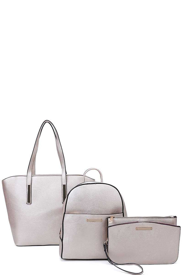 3in1 Modern Shopper Backpack And Clutch Set - Babe Shoppe