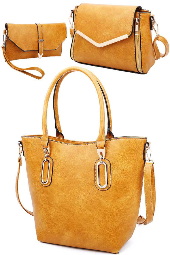 3in1 Modern Chic Tote Crossbody And Clutch Set With Long Strap - Babe Shoppe