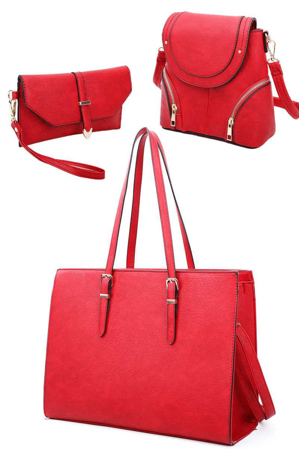 3in1 Designer Fashion Tote Backpack And Clutch Set With Long Strap - Babe Shoppe