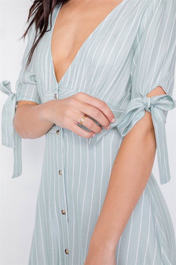 Stripe Casual Office Chic 3/4 Bow Sleeve Mini Dress - Babe Shoppe