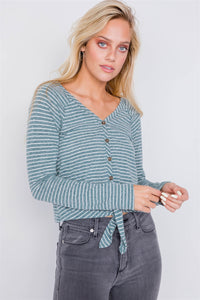 Washed Cotton Front Tie Crop Top