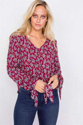 Burgundy High-low Center Tie Scoop Neck Blouse