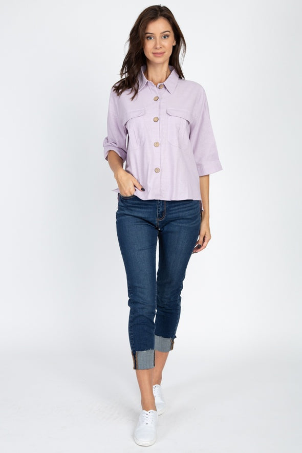 High Low Button Front Shirt - Babe Shoppe