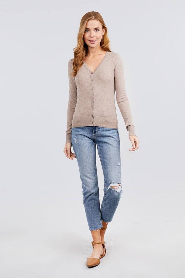 Long Sleeve V-neck Button Down Sweater Cardigan - Babe Shoppe
