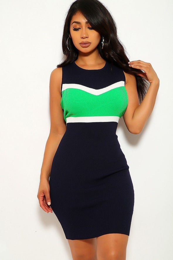 Color Block, Sleeveless, Two-tone, Stripe Dress - Babe Shoppe
