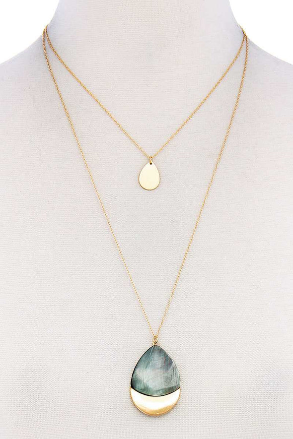 Teardrop Shape Layered Necklace - Babe Shoppe