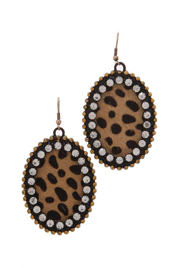 Animal Print Pattern Genuine Leather Circle Drop Earring - Babe Shoppe