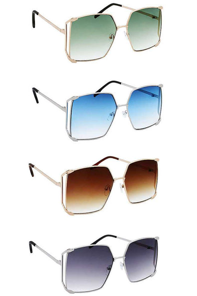 Color Metal Uv400 Square Sunglasses - Babe Shoppe