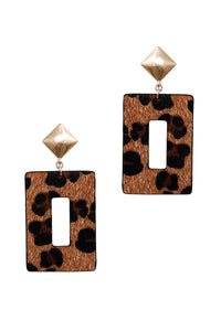 Modern Rectangle Leopard Fur Dangle Drop Earring