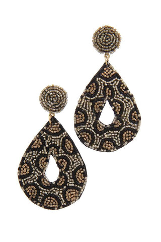 Seed Bead Animal Print Pattern Teardrop Earring