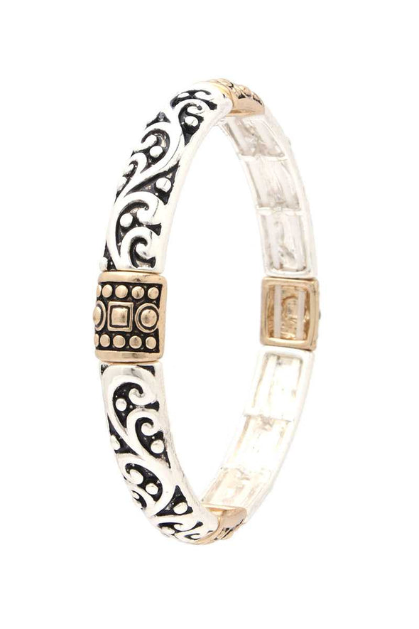 Filigree Metal Stretch Bracelet - Babe Shoppe
