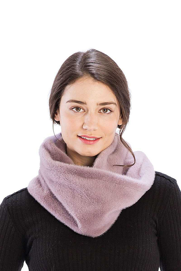 Solid Color Faux Mink Fur Infinity Scarf - Babe Shoppe