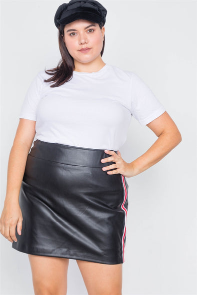 Plus Size Black Color Block Trim Mini Leather Skirt - Babe Shoppe