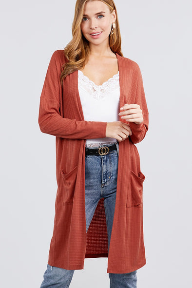 Long Dolman Sleeve Open Front W/pocket Pointelle Rib Long Cardigan - Babe Shoppe