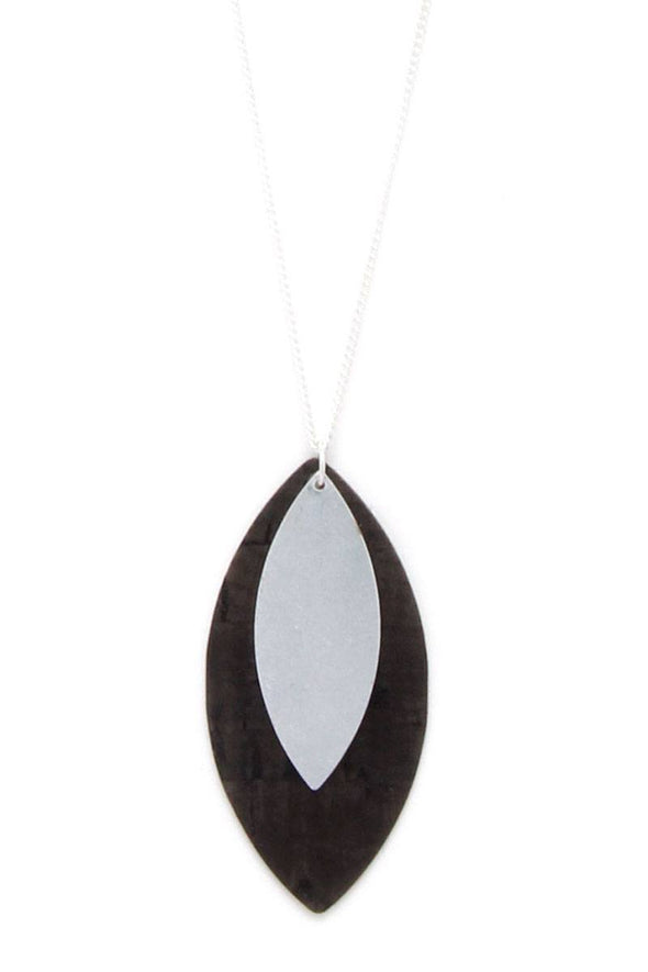 Double Pointed Oval Shape Pendant Necklace - Babe Shoppe