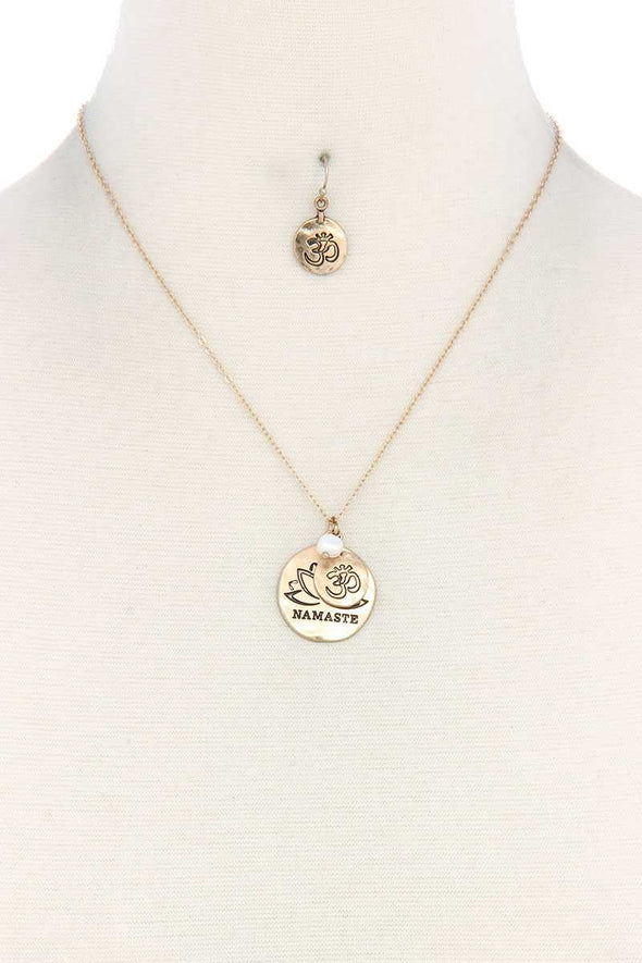 Namaste Engraved Pendant Necklace - Babe Shoppe