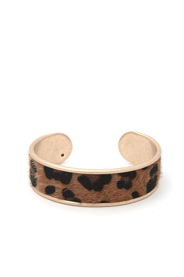 Animal Print Metal Cuff Bracelet - Babe Shoppe