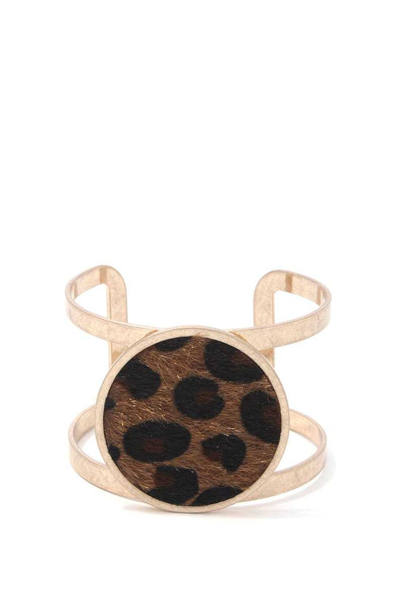 Animal Print Circle Metal Cuff Bracelet - Babe Shoppe
