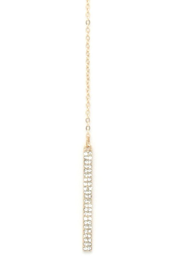 Rhinestone Bar Y Shape Necklace - Babe Shoppe